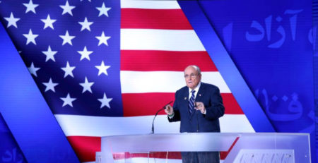 Former New York City Mayor Rudy Giuliani, a close friend of President Trump's, addresses a gathering of a Free Iran conference on July 13, 2019 in Tiran, Albania.